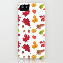 Autumn leaves pattern. Seamless pattern with various hand drawn autumn leaves.  iPhone Case
