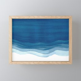 Watercolor blue waves Framed Mini Art Print