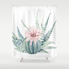 Petite Cactus Echeveria Shower Curtain
