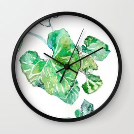 Hand painted watercolor Heart leaves Wall Clock