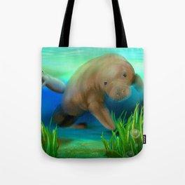 Manatee Illustration Tote Bag