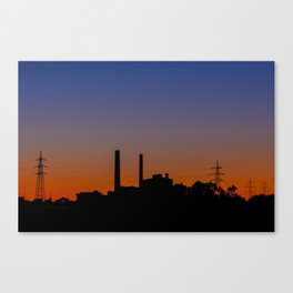 Factory at sunset Canvas Print