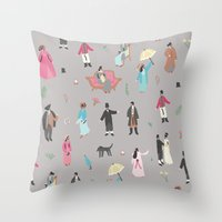 pride and prejudice Throw Pillows featuring Pride and Prejudice by Sara Maese