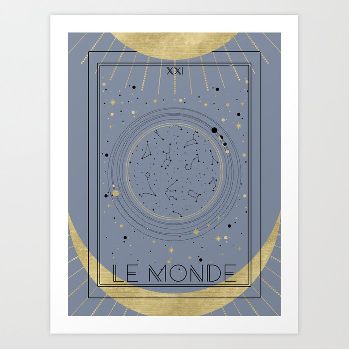 The World or Le Monde Tarot Art Print by cafelab