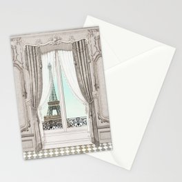 Eiffel Tower room with a view Stationery Cards