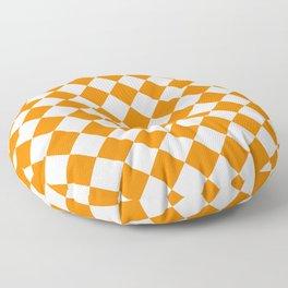 Diamonds - White and Orange Floor Pillow