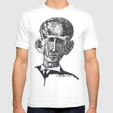 Old man woodblock MEDIUM Mens Fitted Tee White