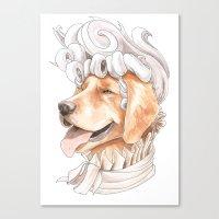 golden retriever Canvas Prints featuring Golden Retriever by Petty Portraits