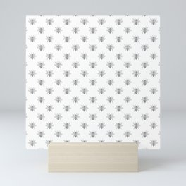 Vintage Honey Bees in Grey on White Mini Art Print
