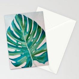Monstera Leaf Watercolor Stationery Cards