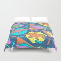 dinosaur Duvet Covers featuring Nineties Dinosaur Pattern by chobopop