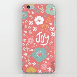 Cute Christmas Flowers Pattern & Text Joy iPhone Skin