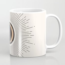 Mid Century Moon, Minimalist Geometric Abstract Art, Boho Decor, Black Sunburst Beige Crescent  Coffee Mug