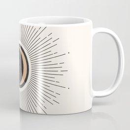 Mid Century Moon, Minimalist Geometric Abstract Art, Boho Decor, Black Sunburst Beige Crescent  Coffee Mug