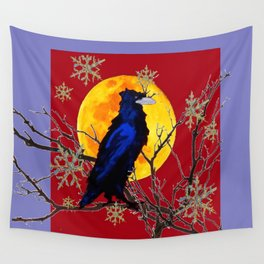 Decorative Winter Full Moon & Black Crow Wall Tapestry