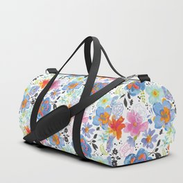 Mixed Media Flowers with Black Accent Flowers Duffle Bag