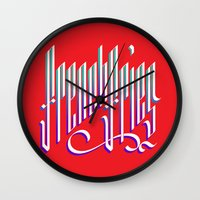 french fries Wall Clocks featuring French Fries by makesake