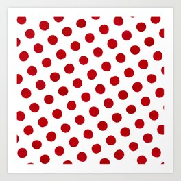 Red Brush Dot Polka Art Print