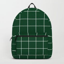 Grid Pattern Forest Green White 014421 Stripe Line Minimal Stripes Lines Spring Summer Backpack