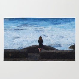 Ocean lover, meditation in front of the sea Rug
