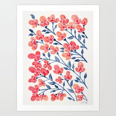 Cherry Blossoms – Melon & Navy Palette Art Print