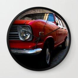 Red Car on Cobblestone Street Wall Clock