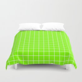 Chartreuse (web) - green color - White Lines Grid Pattern Duvet Cover