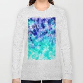 modern boho blue turquoise watercolor mermaid tie dye pattern Long Sleeve T-shirt
