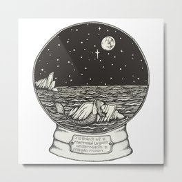 Mermaid Snow Globe Metal Print