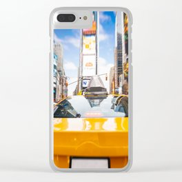 Taxi in Times Square, New York. Clear iPhone Case