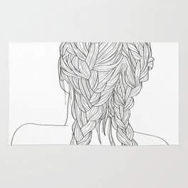 Woman with braids Rug