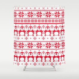 Red Scandinavian Penguin Holiday Design Shower Curtain