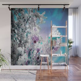 Flowers Lavender Turquoise Aqua Blue Wall Mural