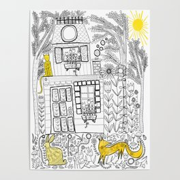 Yellow Color Accent Folk Art Poster