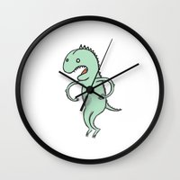 dino Wall Clocks featuring Dino by Vladimir Zaboronok