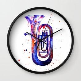 Tuba, Watercolor tuba Wall Clock