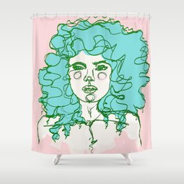 Turquoise Mermaid Curls Shower Curtain