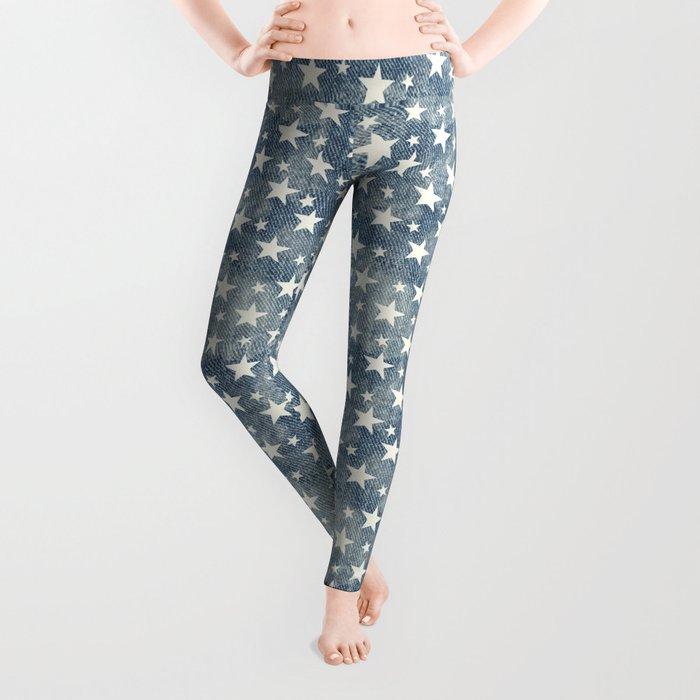 Stars with denim effect Leggings