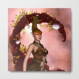 Beautiful fairy with butterflies Metal Print