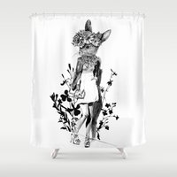 moose Shower Curtains featuring MOOSE by TOO MANY GRAPHIX