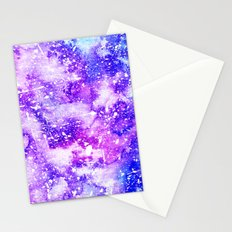 Whimsical pink  purple watercolor white paint splatters Stationery Cards