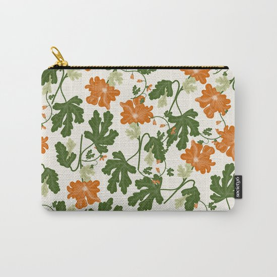 Orange Vintage Flower Pattern Carry-All Pouch