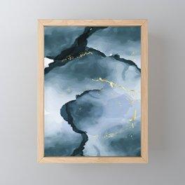 Deep water alcohol ink Framed Mini Art Print