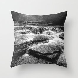 Black and White Rock Crossing Over Waterfall Nature Photography Throw Pillow