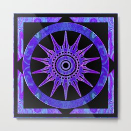 Starlit Purple Nights Abstract Mandala Artwork Metal Print