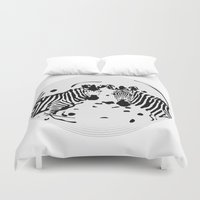 record Duvet Covers featuring Zebra Record by Studio Su