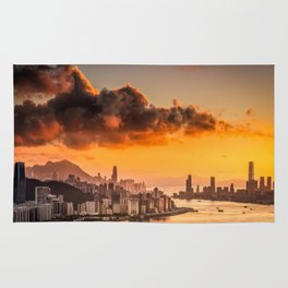 sunset over hong kong urban city skyline with victoria harbor Rug
