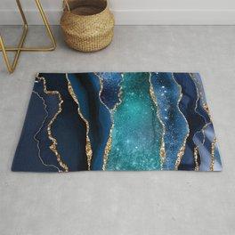 Blue Night Galaxy Marble  Rug