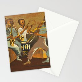 African American Masterpiece 'Harlem Musicians' WPA musical painting by Elizabeth Olds Stationery Cards