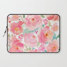 Watercolor Peonies Summer Bouquet Laptop Sleeve